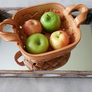 Woven Ceramic Glazed Basket With Handles